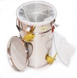 Čeřící a plnící nádoba na 50 kg  medu a uhel. síta