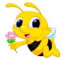 Včelka samolepící s květinou 13x12 cm