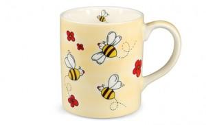 Hrnek porcelánový ručně malovaný s motivem včel