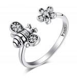 Prsten Včela stříbrná bílá