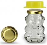 Obal na med MEDVÍDEK skleněný na 350 g medu s klob