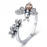 Prsten Včela stříbrná červená