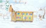 Pohlednice Včelín v zimě