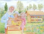 Pohlednice Včelař s dětmi